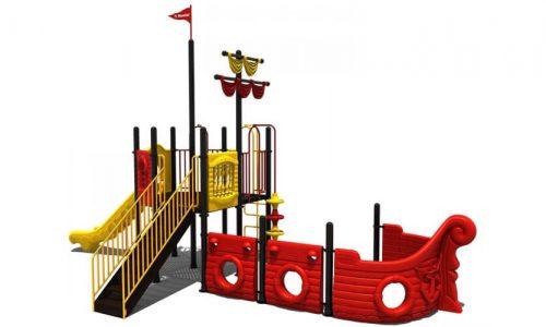Zijwaartse tekening piratenschip klimtoestel met glijbaan - XYZ Fantasia - Speeltoestellen - LuduQ speeltoestellen