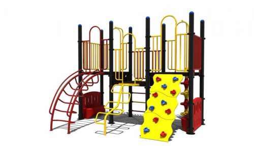 Drachten metalen klimtoestel met meerdere opgangen en tegelijk een speelhuisje - LuduQ speeltoestellen