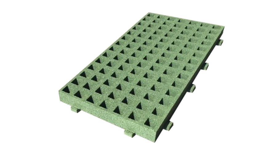 Rechthoekige groene grastegel met uitbreidingsmogelijkheden - Rubberen tegels - Valondergronden - LuduQ speeltoestellen